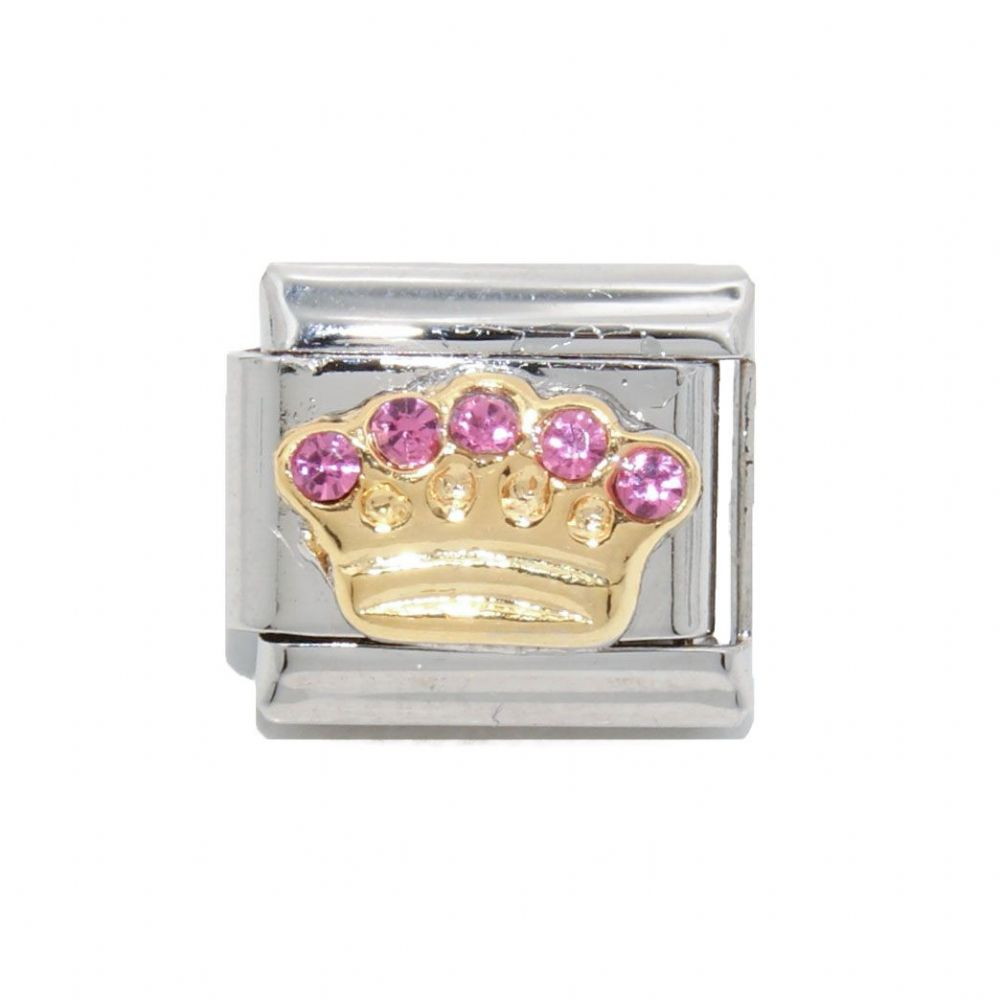 Crown With 5 Pink Stones Enamel